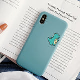 Ladycases - Phone Case Expert - Cartoon Cute Dinosaur Matte Couple Phone Case Back Cover for iPhone SE/11 Pro Max/11 Pro/11/XS Max/XR/XS/X/8 Plus/8/7 Plus/7/6s Plus/6s/6 Plus/6