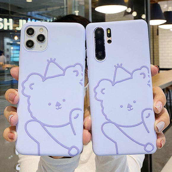 Cartoon Cute Bear Soft Silicone Phone Case Back Cover for Samsung Galaxy S20 Ultra/S20 Plus/S20/S10E/S10 Plus/S10/S9 Plus/S9/S8 Plus/S8/Note 10 Pro/Note 10