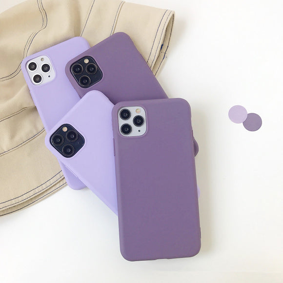 Purple Solid Color Soft Phone Case Back Cover for iPhone 12 Pro Max/12 Pro/12/12 Mini/SE/11 Pro Max/11 Pro/11/XS Max/XR/XS/X/8 Plus/8/7 Plus/7