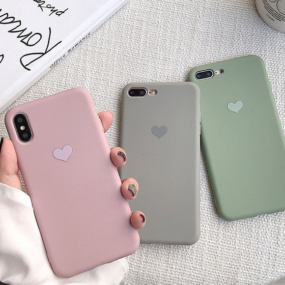 Ladycases - Phone Case Expert - Love Heart Candy Color Soft Phone Case Back Cover for iPhone 11/11 Pro/11 Pro Max/XS Max/XR/XS/X/8 Plus/8/7 Plus/7