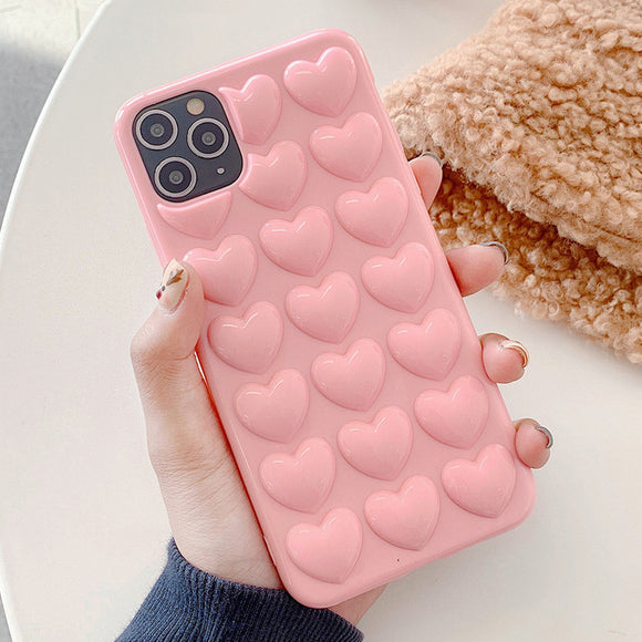 Ladycases - Phone Case Expert - 3D Love Heart Solid Color Phone Case Back Cover for iPhone SE/11/11 Pro/11 Pro Max/XS Max/XR/XS/X/8 Plus/8/7 Plus/7