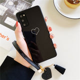 Simple Hollow Love Heart Lanyard Soft Phone Case Back Cover for Samsung Galaxy S20 Ultra/S20 Plus/S20/S10E/S10 Plus/S10/S9 Plus/S9/S8 Plus/S8/Note 20 Ultra/Note 20/Note 10 Plus/Note 10