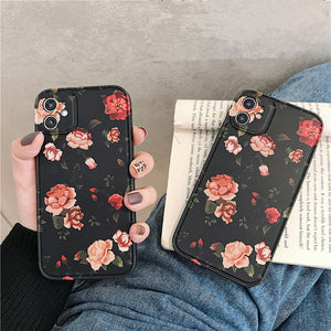 Retro Rose Flower Soft Phone Case Back Cover for iPhone 12 Pro Max/12 Pro/12/12 Mini/SE/11 Pro Max/11 Pro/11/XS Max/XR/XS/X/8 Plus/8/7 Plus/7