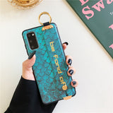 Relief Fish Scale Wrist Strap Stand Holder Soft Phone Case Back Cover for Samsung Galaxy S20 Ultra/S20 Plus/S20/S10E/S10 Plus/S10/S9 Plus/S9/S8 Plus/S8/Note 20 Ultra/Note 20/Note 10 Plus/Note 10