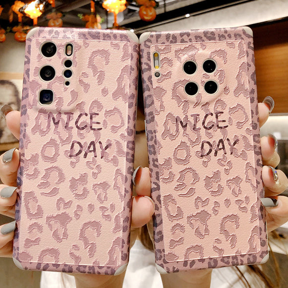 Pink Leopard Soft Phone Case Back Cover for Huawei Mate 40 Pro/Mate 40/Mate 30 Pro/Mate 30/P40 Pro/P40/P30 Pro/P30