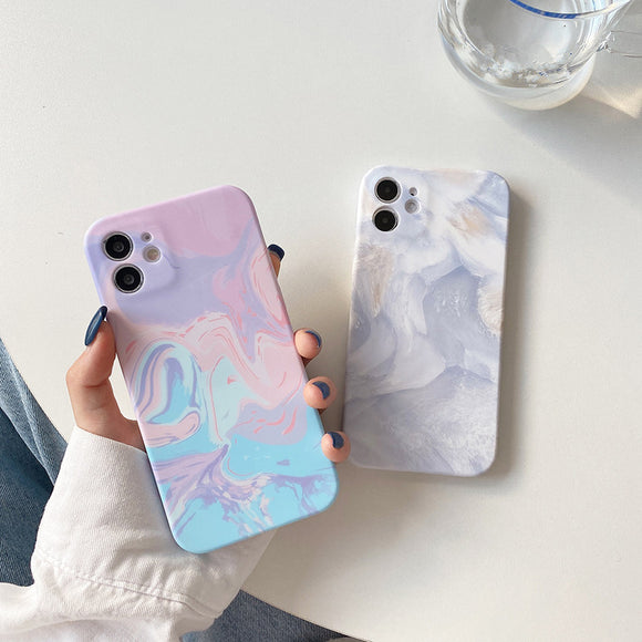 Oil Painting Marble Texture Soft Phone Case Back Cover for iPhone 12 Pro Max/12 Pro/12/12 Mini/SE/11 Pro Max/11 Pro/11/XS Max/XR/XS/X/8 Plus/8/7 Plus/7