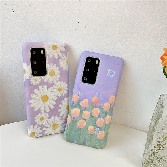 Daisy Tulip Painting Soft Phone Case Back Cover for Huawei Mate 40 Pro/Mate 40/Mate 30 Pro/Mate 30/P40 Pro/P40/P30 Pro/P30