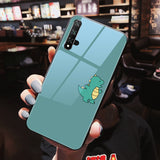 Cute Dinosaur Couples Tempered Glass Phone Case Back Cover for Huawei Mate 40 Pro/Mate 40/Mate 30 Pro/Mate 30/P40 Pro/P40/P30 Pro/P30