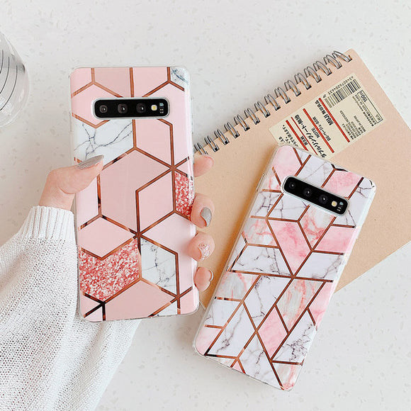 Ladycases - Phone Case Expert - Electroplated Geometric Marble Soft IMD Phone Case Back Cover for Samsung Galaxy S20 Ultra/S20 Plus/S20/S10E/S10 Plus/S10/S9 Plus/S9/S8 Plus/S8
