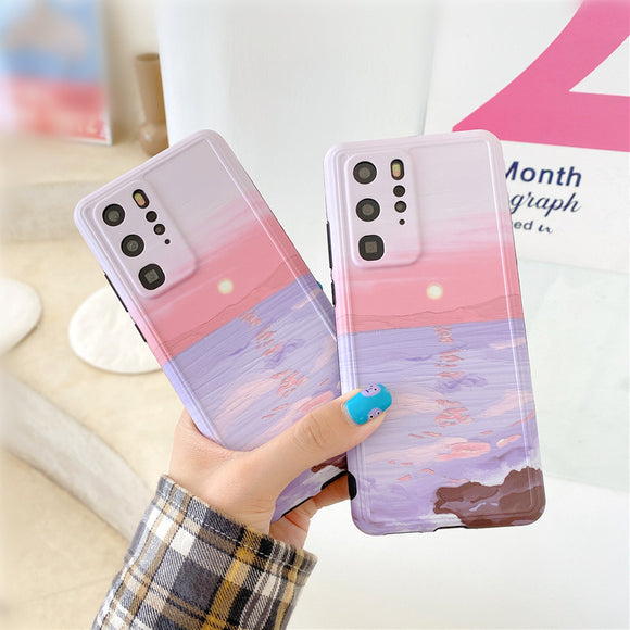 Retro Painting Sunset Landscape Soft Phone Case Back Cover for Huawei Mate 40 Pro/Mate 40/Mate 30 Pro/Mate 30/P40 Pro/P40/P30 Pro/P30
