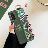 Relief Banana Leaves Wrist Strap Stand Holder Soft Phone Case Back Cover for Samsung Galaxy S20 Ultra/S20 Plus/S20/S10E/S10 Plus/S10/S9 Plus/S9/S8 Plus/S8/Note 20 Ultra/Note 20/Note 10 Plus/Note 10