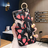 Ladycases - Phone Case Expert - 3D Relief Retro Painting Wrist Strap Support Phone Case Back Cover for Samsung Galaxy S10E/S10 Plus/S10/S9 Plus/S9/S8 Plus/S8/Note 9/Note 8