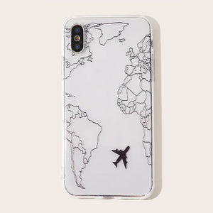 Ladycases - Phone Case Expert - Popular Planes Map Designs Soft Phone Case Back Cover for iPhone 11/11 Pro/11 Pro Max/XS Max/XR/XS/X/8 Plus/8/7 Plus/7