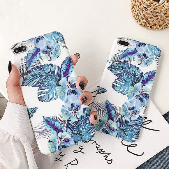 Ladycases - Phone Case Expert - Vintage Flowers Blue Banana Leaf Phone Case Back Cover for iPhone 11/11 Pro/11 Pro Max/XS Max/XR/XS/X/8 Plus/8/7 Plus/7