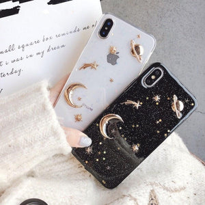 Ladycases - Phone Case Expert - Luxury Space Moon Glitter Phone Case Back Cover for iPhone SE/11 Pro Max/11 Pro/11/XS Max/XR/XS/X/8 Plus/8/7 Plus/7/6s Plus/6s/6 Plus/6