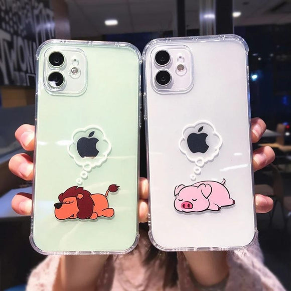Creative Animal Shockproof Clear Soft Phone Case Back Cover for iPhone 12 Pro Max/12 Pro/12/12 Mini/SE/11 Pro Max/11 Pro/11/XS Max/XR/XS/X/8 Plus/8/7 Plus/7