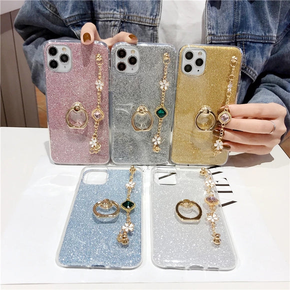 Bling Diamond Bracelet Lanyard Soft Phone Case Back Cover for iPhone 12 Pro Max/12 Pro/12/12 Mini/SE/11 Pro Max/11 Pro/11/XS Max/XR/XS/X/8 Plus/8/7 Plus/7
