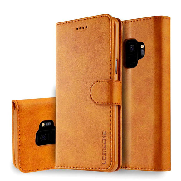 Ladycases - Phone Case Expert - PU Leather Flip Wallet Phone Case Back Cover for Samsung Galaxy S10E/S10 Plus/S10/S9 Plus/S9/S8 Plus/S8/Note 8/Note 9
