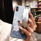 Ladycases - Phone Case Expert - Retro Flower Wrist Strap Phone Case Back Cover for iPhone 11 Pro Max/11 Pro/11/XS Max/XR/XS/X/8 Plus/8/7 Plus/7