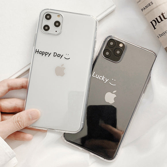 Ladycases - Phone Case Expert - Simple Letters Happy Day Lucky Transparent Soft Phone Case Back Cover for iPhone 11/11 Pro/11 Pro Max/XS Max/XR/XS/X/8 Plus/8/7 Plus/7