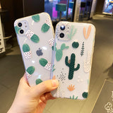 Cute Cactus Transparent Soft Phone Case Back Cover for iPhone 12 Pro Max/12 Pro/12/12 Mini/SE/11 Pro Max/11 Pro/11/XS Max/XR/XS/X/8 Plus/8/7 Plus/7