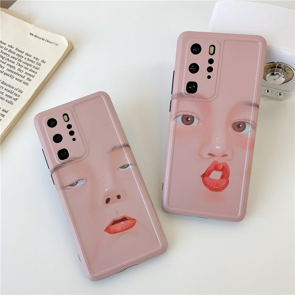 Funny Face Couples Soft Phone Case Back Cover for Huawei Mate 40 Pro/Mate 40/Mate 30 Pro/Mate 30/P40 Pro/P40/P30 Pro/P30