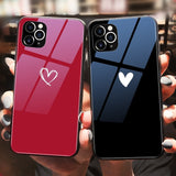 Love Heart Tempered Glass Phone Case Back Cover for iPhone 12 Pro Max/12 Pro/12/12 Mini/11 Pro Max/11 Pro/11/XS Max/XR/XS/X/8 Plus/8/7 Plus/7