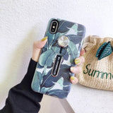 Ladycases - Phone Case Expert - Retro Flower Leaves Hide Loop Stand Phone Case Back Cover for iPhone SE/11 Pro Max/11 Pro/11/XS Max/XR/XS/X/8 Plus/8/7 Plus/7