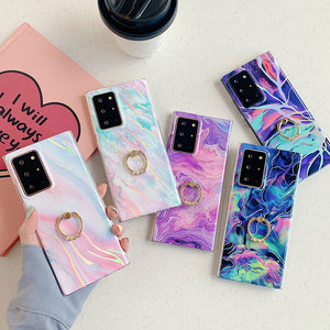 Laser Gradient Rainbow Marble Fissure Finger Ring Holder Soft Phone Case Back Cover for Samsung Galaxy S20 Ultra/S20 Plus/S20/S10E/S10 Plus/S10/S9 Plus/S9/S8 Plus/S8/Note 20 Ultra/Note 20/Note 10 Plus/Note 10