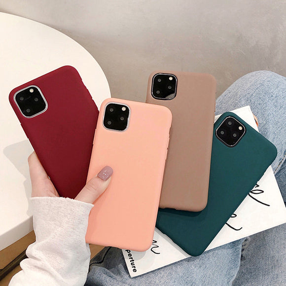 Simple Solid Color Matte Soft Phone Case Back Cover for iPhone 12 Pro Max/12 Pro/12/12 Mini/SE/11 Pro Max/11 Pro/11/XS Max/XR/XS/X/8 Plus/8/7 Plus/7