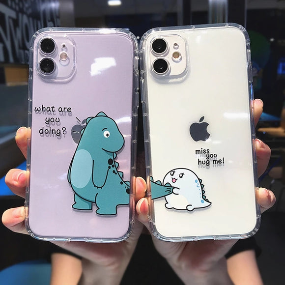 Cute Cartoon Dinosaur Couples Transparent Soft Phone Case Back Cover for iPhone 12 Pro Max/12 Pro/12/12 Mini/11 Pro Max/11 Pro/11/XS Max/XR/XS/X/8 Plus/8/7 Plus/7