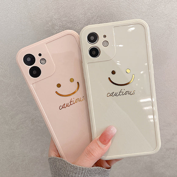 Gold Smiley Silicone Soft Phone Case Back Cover for iPhone 12 Pro Max/12 Pro/12/12 Mini/SE/11 Pro Max/11 Pro/11/XS Max/XR/XS/X/8 Plus/8/7 Plus/7