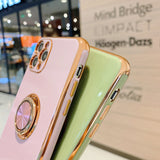 Luxury Gold Plating Ring Holder Soft TPU Silicone Phone Case Back Cover for iPhone 12 Pro Max/12 Pro/12/12 Mini/SE/11 Pro Max/11 Pro/11/XS Max/XR/XS/X/8 Plus/8/7 Plus/7
