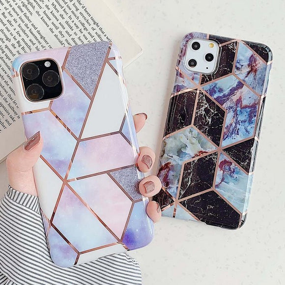 Ladycases - Phone Case Expert - Geometric Marble Electroplated IMD Phone Case Back Cover for iPhone 11 Pro Max/11 Pro/11/XS Max/XR/XS/X/8 Plus/8/7 Plus/7