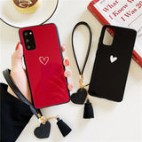Solid Color Love Heart Lanyard Soft Phone Case Back Cover for Samsung Galaxy S20 Ultra/S20 Plus/S20/S10E/S10 Plus/S10/S9 Plus/S9/S8 Plus/S8/Note 20 Ultra/Note 20/Note 10 Plus/Note 10