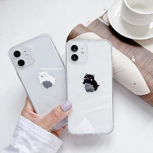 Cute and Fun Black and White Cat Couple Clear Soft Phone Case Back Cover for iPhone 12 Pro Max/12 Pro/12/12 Mini/SE/11 Pro Max/11 Pro/11/XS Max/XR/XS/X/8 Plus/8/7 Plus/7