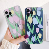 Literary Oil Painting Flower Couples Silicone Clear Soft iPhone Case