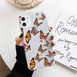 Simple Butterfly Print Transparent Soft Phone Case Back Cover for iPhone 12 Pro Max/12 Pro/12/12 Mini/SE/11 Pro Max/11 Pro/11/XS Max/XR/XS/X/8 Plus/8/7 Plus/7