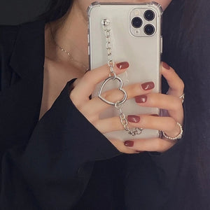 Love Heart Chain Transparent Soft Phone Case Back Cover for iPhone 12 Pro Max/12 Pro/12/12 Mini/SE/11 Pro Max/11 Pro/11/XS Max/XR/XS/X/8 Plus/8/7 Plus/7