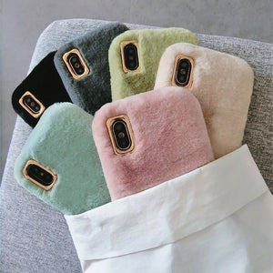 Ladycases - Phone Case Expert - Winter Warm Cute Rabbit Fur Plush Solid Color Phone Case Back Cover for iPhone SE/11 Pro Max/11 Pro/11/XS Max/XR/XS/X/8 Plus/8/7 Plus/7