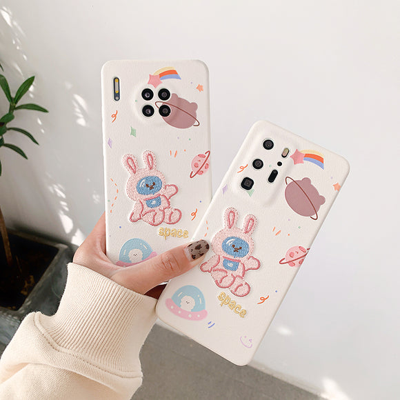 Pink Rabbit Spaceship Soft Phone Case Back Cover for Huawei Mate 40 Pro/Mate 40/Mate 30 Pro/Mate 30/P40 Pro/P40/P30 Pro/P30