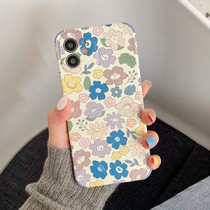 Retro Colored Flowers Silicone Soft iPhone Case