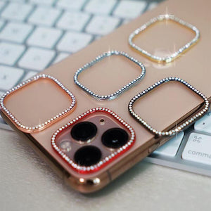 Ladycases - Phone Case Expert - Round Rhinestone Diamond Metal Camera Len Protector for iPhone 11/11 Pro/11 Pro Max/XS Max/XR/XS/X/8 Plus/8/7 Plus/7