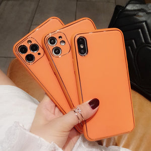 Orange Leather Camera Lens Protector Soft Phone Case Back Cover for iPhone 12 Pro Max/12 Pro/12/12 Mini/SE/11 Pro Max/11 Pro/11/XS Max/XR/XS/X/8 Plus/8/7 Plus/7