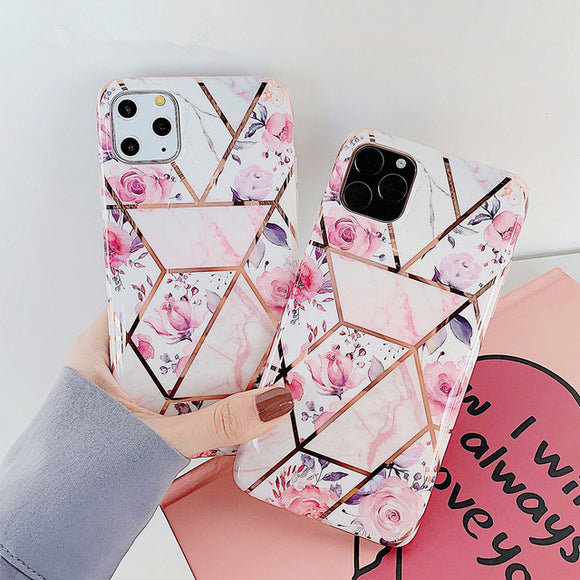 Ladycases - Phone Case Expert - Retro Plated Pink Flower Geometric Soft Phone Case Back Cover for iPhone SE/11/11 Pro/11 Pro Max/XS Max/XR/XS/X/8 Plus/8/7 Plus/7