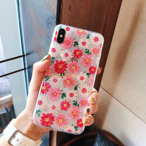 Fashion Pink Daisy Silicone Clear Soft Phone Case Back Cover for iPhone 12 Pro Max/12 Pro/12/12 Mini/SE/11 Pro Max/11 Pro/11/XS Max/XR/XS/X/8 Plus/8/7 Plus/7