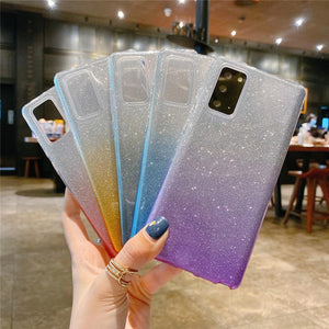 Glitter Powder Gradient Color Soft Phone Case Back Cover for Samsung Galaxy S20 Ultra/S20 Plus/S20/S10E/S10 Plus/S10/S9 Plus/S9/S8 Plus/S8/Note 20 Ultra/Note 20/Note 10 Plus/Note 10