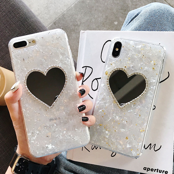 Love Mirror Shell Pattern Silicone Soft Phone Case Back Cover for iPhone 12 Pro Max/12 Pro/12/12 Mini/SE/11 Pro Max/11 Pro/11/XS Max/XR/XS/X/8 Plus/8/7 Plus/7