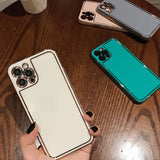 Solid Color Frame Soft Phone Case Back Cover for iPhone 12 Pro Max/12 Pro/12/12 Mini/SE/11 Pro Max/11 Pro/11/XS Max/XR/XS/X/8 Plus/8/7 Plus/7