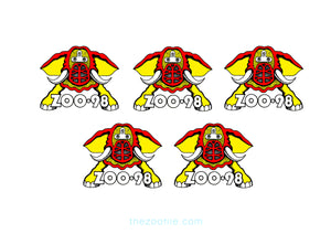 ZOO 98 Mini Beast Helmet/Windshield /Toolbox Sticker- 5 Pack